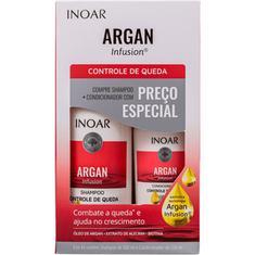 Kit Shampoo + Condicionador Argan Infusion Controle de Queda Inoar 500+250ml