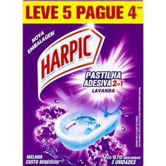 Pastilha Sanitária Adesiva Lavanda 2 em 1 Harpic Leve 5 Pague 4un.
