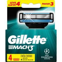 Carga para Aparelho de Barbear UEFA Gillette Mach3 Leve 4 Pague 3un.