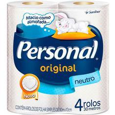 Papel Higiênico Personal Folha Simples Neutro 4X30m