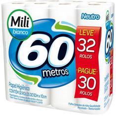 Papel Higiênico Milli Bianco Folha Simples Leve 32 Pague 30 60m