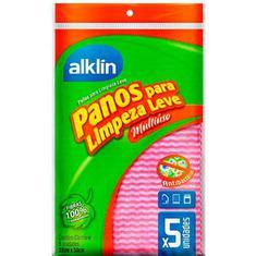 Pano de Limpeza Leve Alklin Rosa 33 x 50 cm 5un.