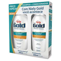 Kit Shampoo + Condicionador Niely Gold Pós-Química 300+200ml