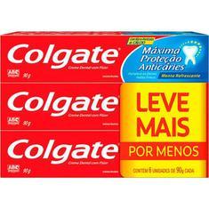 Creme Dental Colgate Máxima Proteção Anticárie Promoção 6 unidades 90g