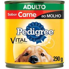 Alimento para Cães sabor Carne ao Molho Pedigree Lata 290g