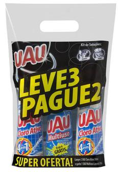 Kit UAU 2 Cloro Ativo + 1 Limpador Multiuso Lavanda 500ml