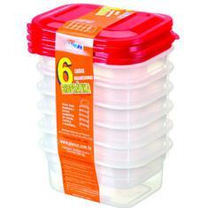 Caixa Plástica Pleion 600ml 6 Peças
