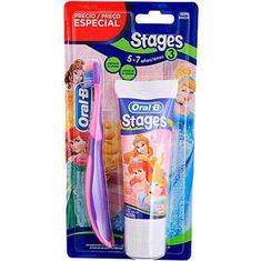Kit Stages Escova + Creme Dental Princesas Oral B