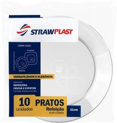 Prato Descartável Cristal 21cm Strawplast 10un