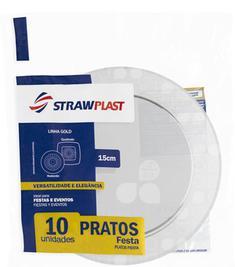Prato Descartável Cristal 15cm Strawplast 10un