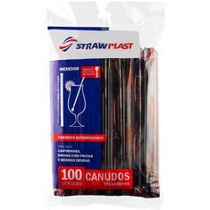 Canudo Preto 6mm Strawplast 100un