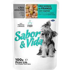 Alimento para Cães Adultos Sabor Frango com vegetais Sabor & Vida 100g