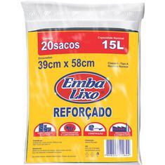 Saco para Lixo Reforçado Almofada Embalixo 15L 20un.