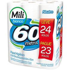 Papel Higiênico Bianco 60m Mili Leve 24 Pague 23un
