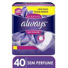 Protetores Diários Always Sem Perfume 40 Unidades