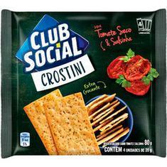 Biscoito Salgado Crostini Sabor Tomate Seco e Salsinha Club Social 80g