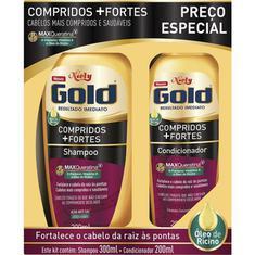 Shampoo + Condicionador Compridos + Fortes Niely Gold 300+200ml