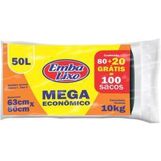 Saco para Lixo Preto Embalixo 50L 80un. + 20 Unidades Grátis