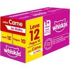 Alimento Para Gatos Adultos Sabor Carne Whiskas Sachê 85g Leve 12 Pague 10 un.