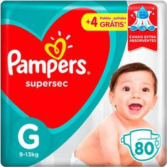 Fraldas Pampers Supersec Jumbo G 80 Unidades