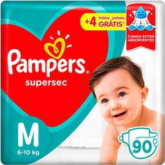 Fraldas Pampers Supersec Jumbo M 90 Unidades