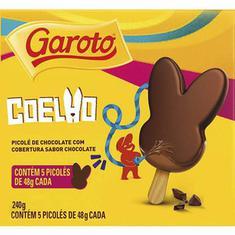 Picolé de Chocolate com Cobertura de Chocolate Garoto 5un X 48g