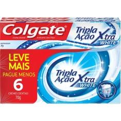 Creme Dental Tripla Ação Xtra White Colgate 70g 6un