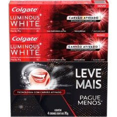 Creme Dental Luminous White Carvão Ativado Colgate 70g 4un