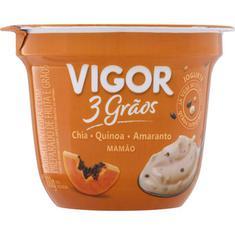Iogurte Natural 3 Grãos Sabor Mamão Vigor 100g