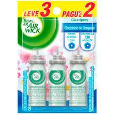 Purificador de Ar Click Spray Cheirinho de Limpeza Bom Ar Refil 12ml Leve 3 Pague 2