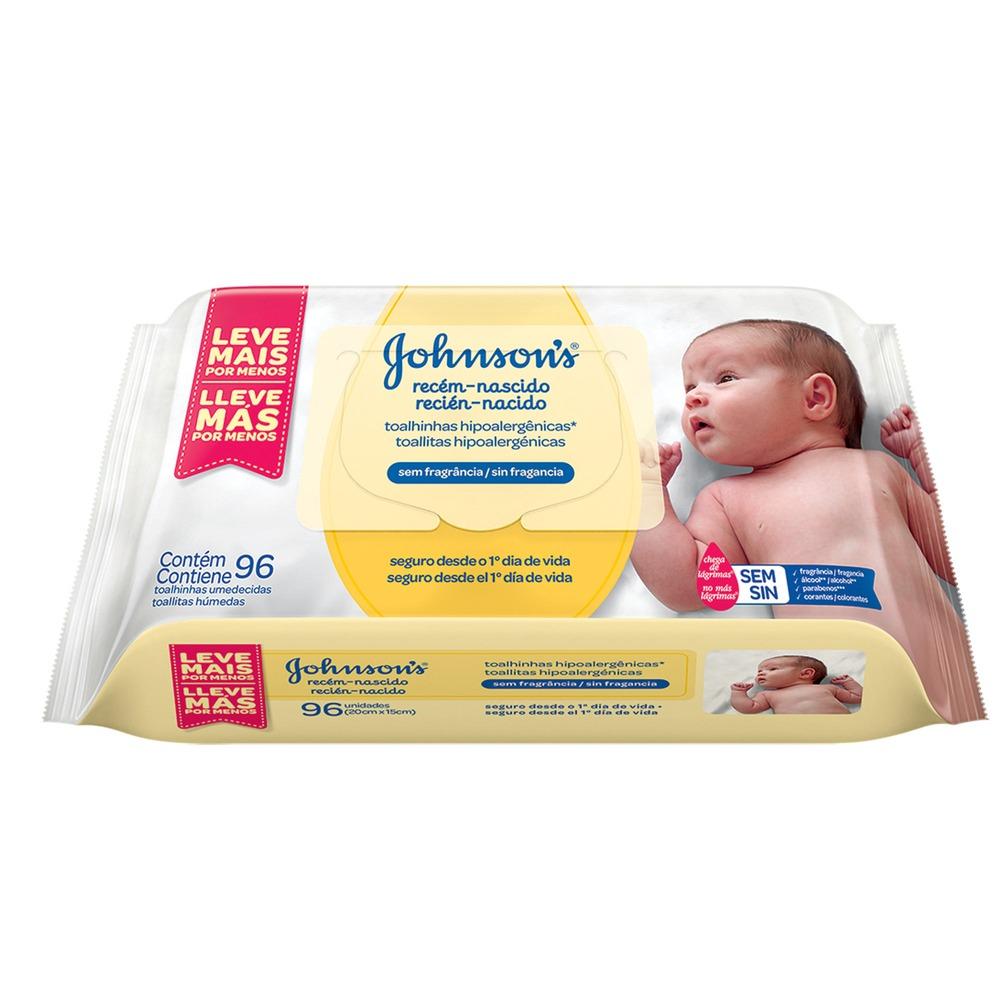 Lenço Umedecido Recém-Nascido Johnsons Baby 96un