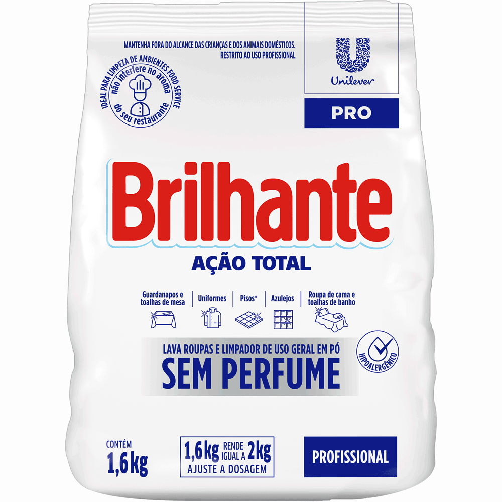Lava Roupa em Pó sem Perfume Brilhante 1,6kg