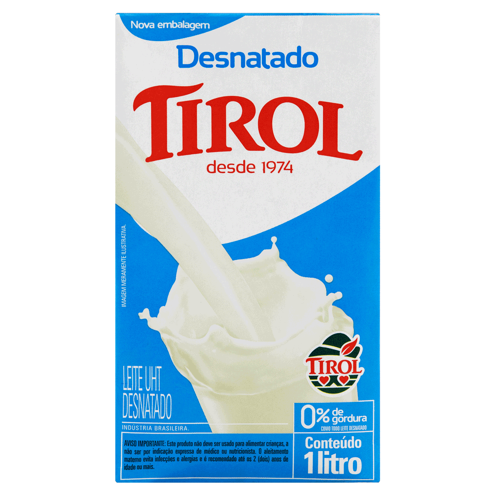 Leite Longa Vida Desnatado Tirol 1L