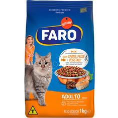 Alimento para Gatos Adultos Mix Carne Peixe e Vegetais Faro 1kg