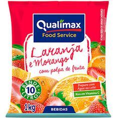 Refresco em Pó sabor Laranja e Morango Qualimax 1kg