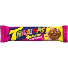 Biscoito Recheado sabor Morango Mais Trakinas 126g