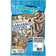Camarão Congelado Inteiro Cru Costa Sul 1kg