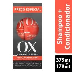 Kit Shampoo Nutrição Fortalecedora 375ml + Condicionador 170ml OX Cosméticos