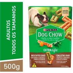 Biscoito para Cães Adultos Duo Frango e Cenoura, Frango e Espinafre Purina Extra Life Dog Chow 500g