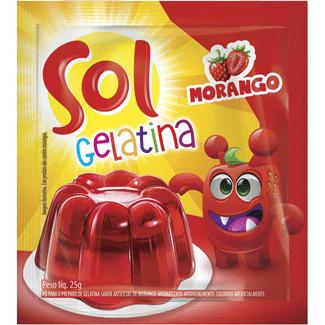Gelatina em Pó sabor Morango Sol 25g