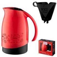 Conjunto de Bule Térmico Vermelho de 700ml + Suporte para Filtro de Café 102 Sanremo
