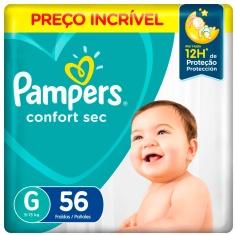 Fralda Descartável Infantil Confort Sec Pampers G 56 Unidades