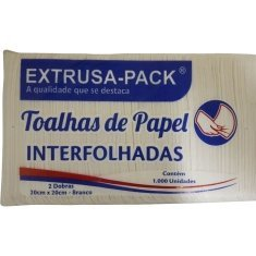 Toalha de Papel Interfolhadas Branco Extrusa 20x20 c/ 1000un