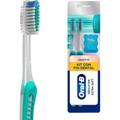 Kit 2 Escovas Dentais Extramacias Sensitive Pro-Saúde + 1 Fio Dental Complete Satin Floss Oral-B