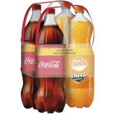 Kit Refrigerantes 2 Coca Cola + 2 Fanta Laranja 2L