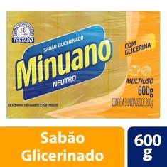 Sabão em Barra Glicerinado Multiuso Neutro Minuano 3 Unidades 600g