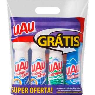 Kit UAU 2 Cloro Ativo 500ml + 1 Desengordurante 500ml Grátis Multiuso Lavanda 500ml
