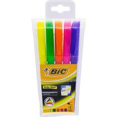 Marcador de Texto Fluorescente Chanfrado Brite Liner Bic 5 un.