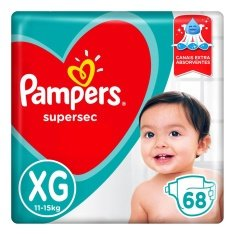 Fraldas Pampers Supersec Jumbo XG 68 Unidades