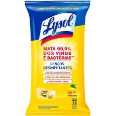 Lenço Umedecido Desinfetante Poder Cítrico Lysol 72 Unidades